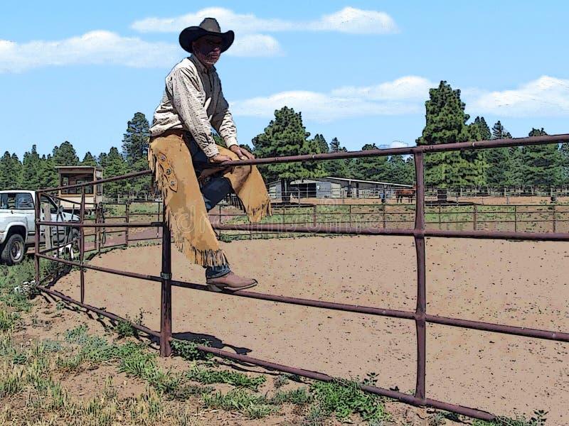 Cowboy op een omheining op boerderij het kijken royalty-vrije illustratie