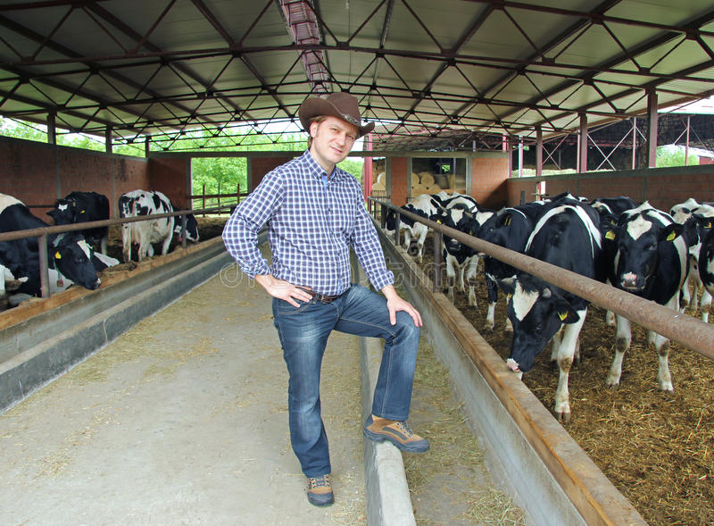 Cowboy op Landbouwbedrijf stock afbeeldingen