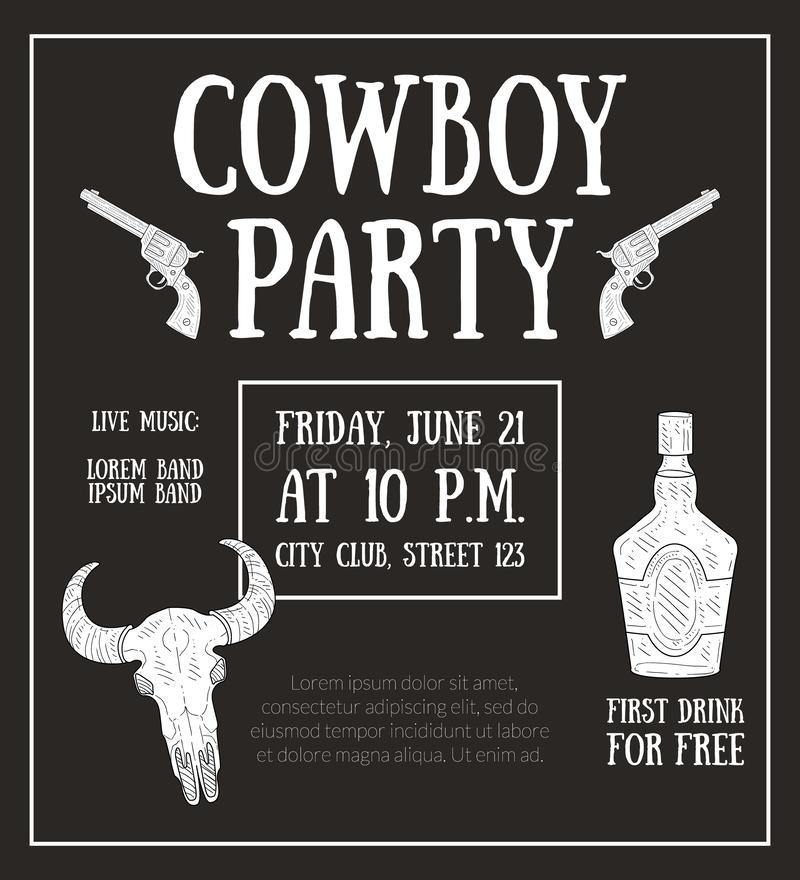 Cowboy Party Banner Template, Gestaltungselement kann für Plakat, Karte, Einladung, Flieger-Vektor-Illustration verwendet werden stock abbildung