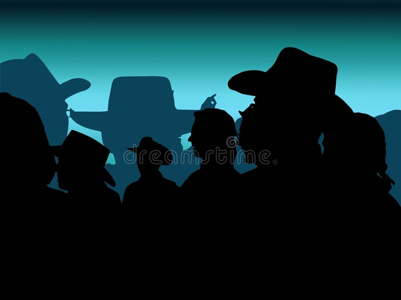 Cowboy party: blue. Vector trace of cowboy party photo