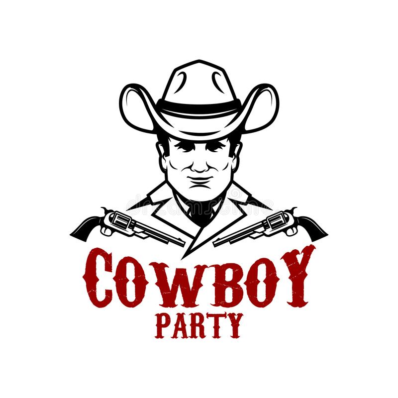 Cowboy party. Cowboy with revolvers. Design element for logo, label,sign. vector illustration