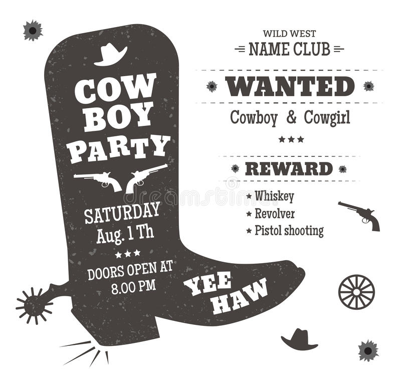 Cowboy party stock illustration