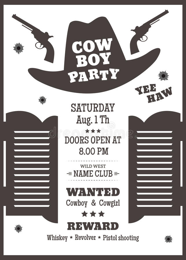 Cowboy party poster stock vector illustration of open 70702468 cowboy party poster or invitation in western style cowboy hat silhouette with text vector illustration stopboris Choice Image