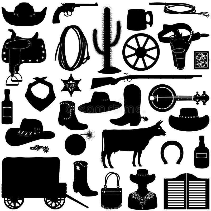 Cowboy Pictograms de vecteur illustration libre de droits