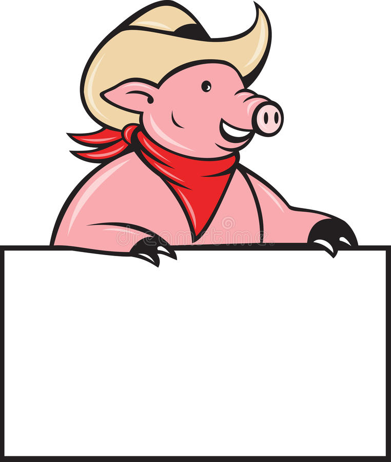 Download Cowboy Pig Hog Holding Blank Sign Stock Illustration - Image: 20282314