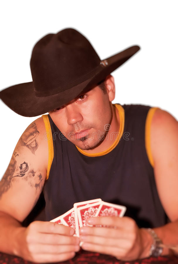 Cowboy playing cards royalty free stock image