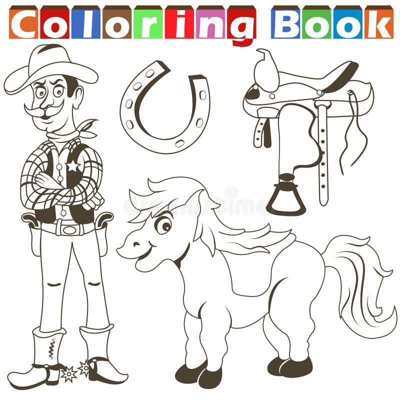 Cowboy pony colorbook vector illustration