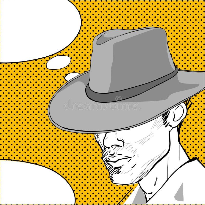 Cowboy pop art dialog vector illustration