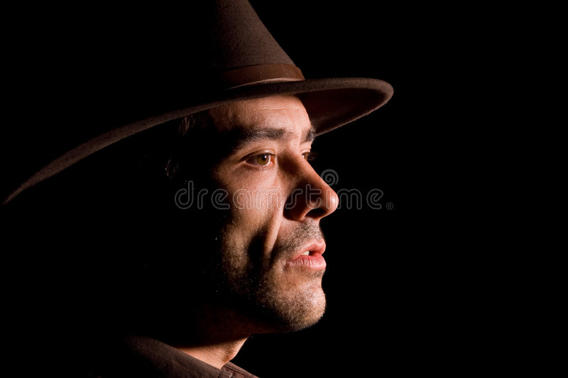 Cowboy portrait. Portrait of an attractive young cowboy stock photo