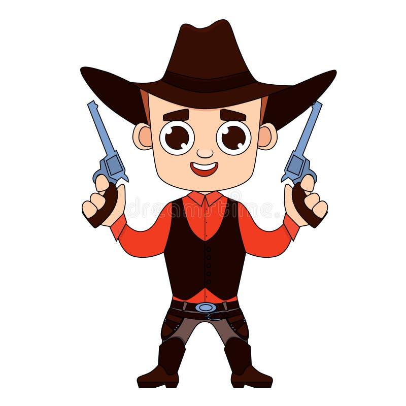 Cowboy Print för T-tröja royaltyfri illustrationer