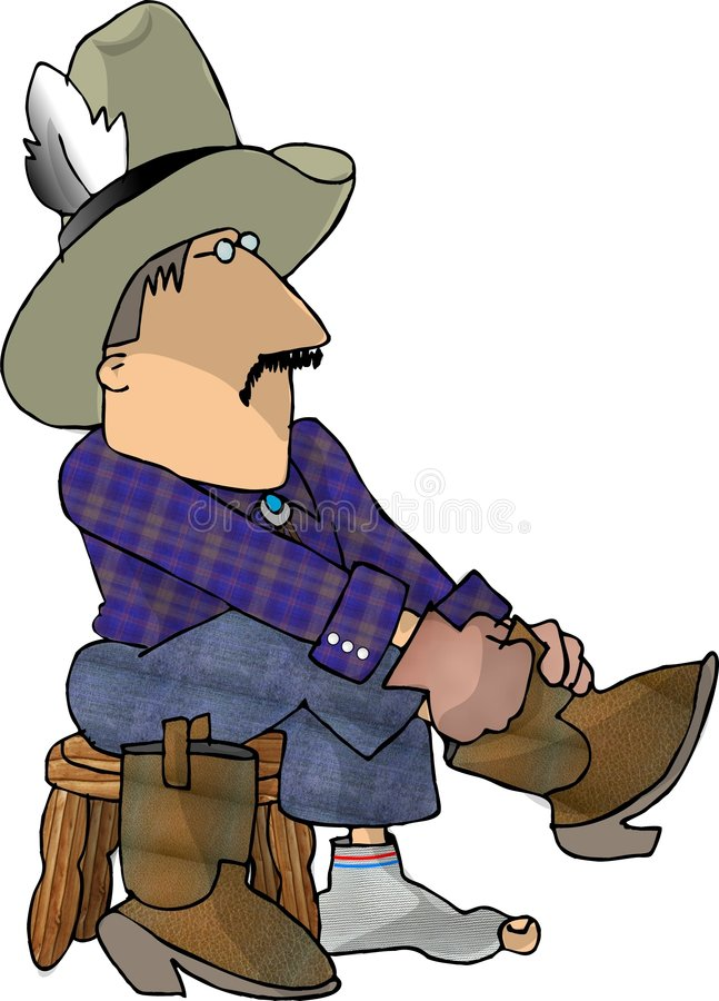 Cowboy putting on his boots stock illustration