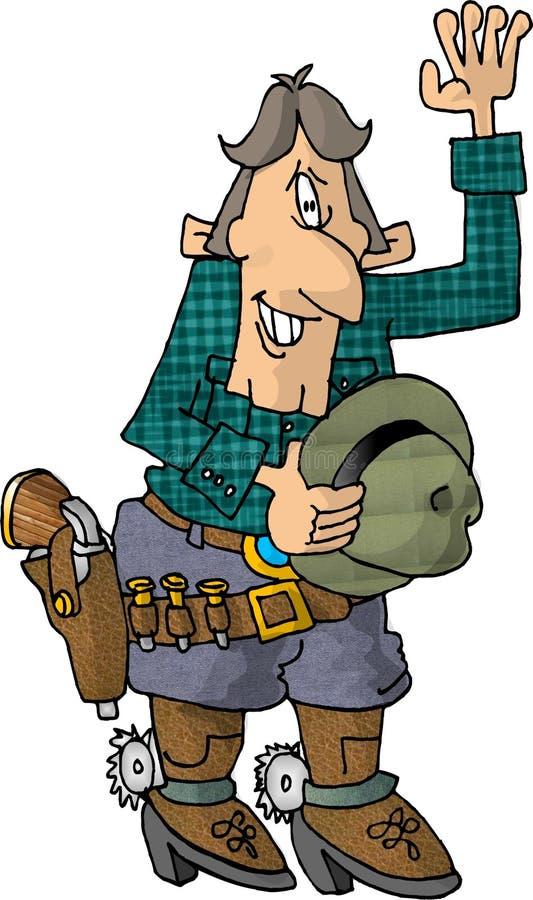 Cowboy que acena com seu chapéu fora ilustração do vetor