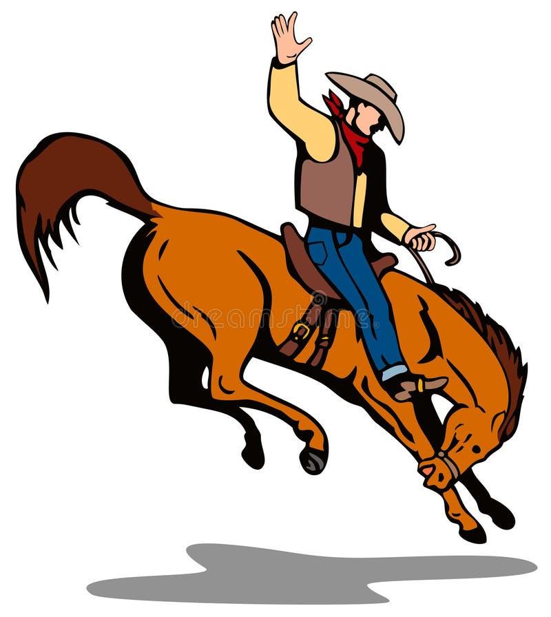 Cowboy que monta um bronco bucking ilustração do vetor