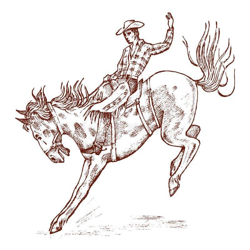 Cowboy que monta um cavalo Ícone ocidental do rodeio, Texas Ranger, xerife no chapéu Oeste selvagem, estilo country Mão gravada v ilustração royalty free
