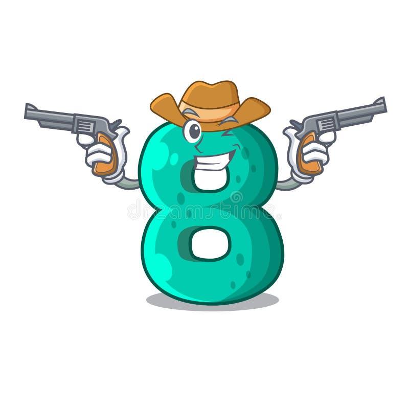 Cowboy raster version cartoon shaped Number Eight. Vector illustration royalty free illustration