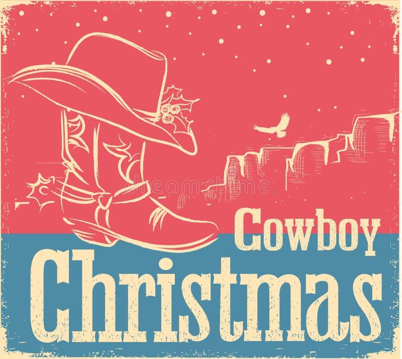 Cowboy retro christmas card with western shoe and western hat stock download cowboy retro christmas card with western shoe and western hat stock illustration illustration of m4hsunfo