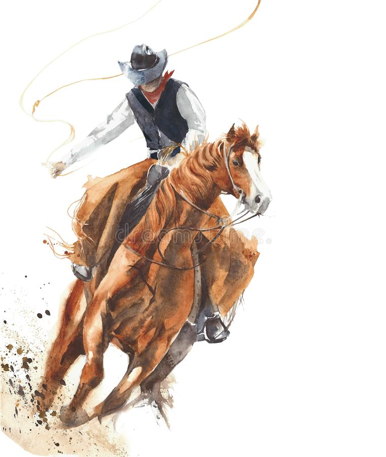 Free Cowboy Riding A Horse Ride Calf Roping Watercolor Painting Illustration Isolated On White Background Royalty Free Stock Photos - 102509228