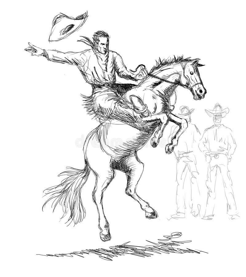 Cowboy Riding A Bucking Bronco Stock Illustration - Illustration Of Mare Sketch 3765006