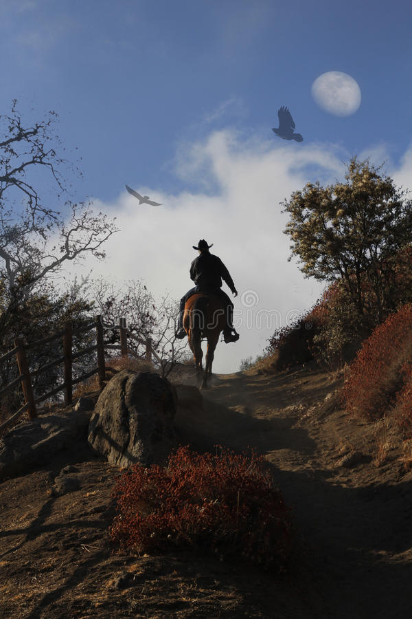 Download A Cowboy Riding His Horse Up A Hill. Stock Image - Image: 36589239
