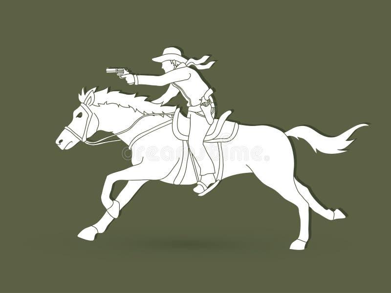 Cowboy riding horse,aiming a gun graphic vector stock illustration