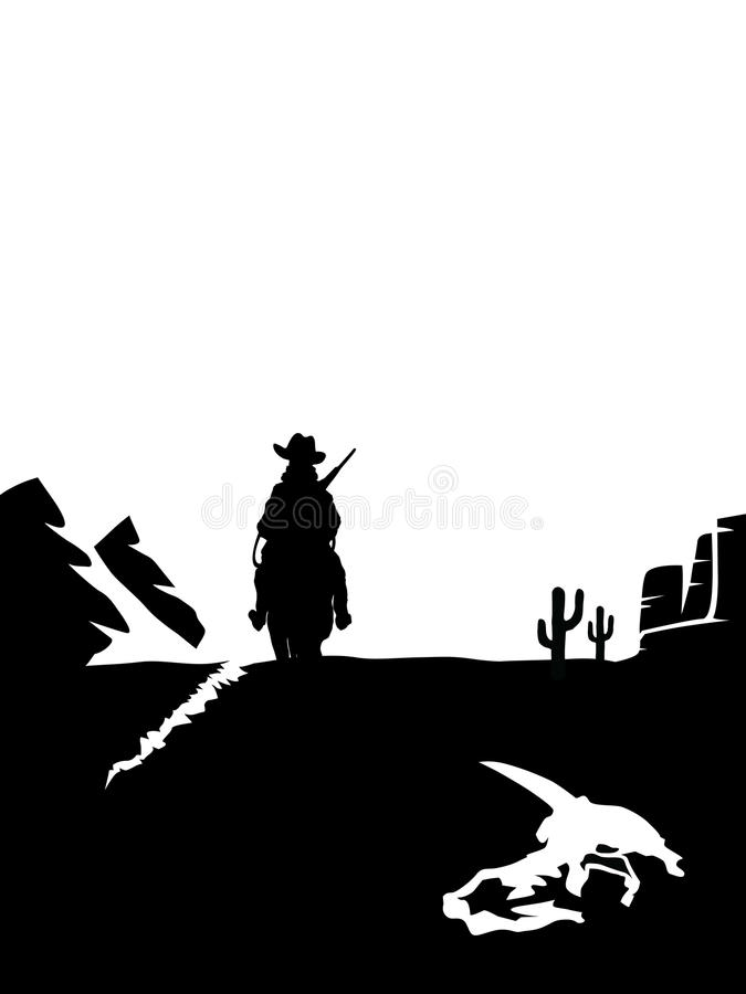 Download Cowboy Riding A Horse In The Desert Stock Vector - Image: 33583954