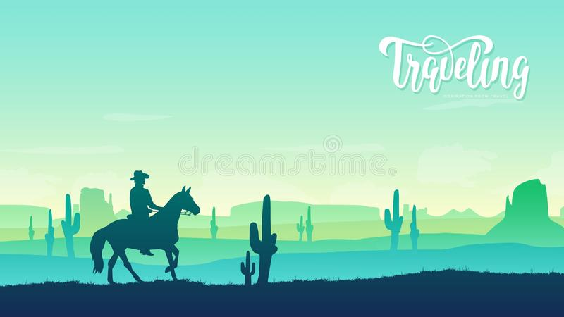 Cowboy riding a horse illustration concept. Horse rider in the background of the Texas desert. Wild West culture design vector illustration