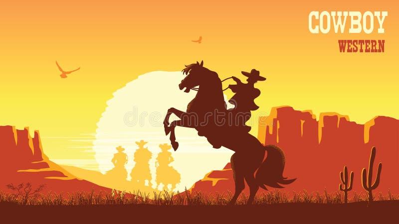 Cowboy riding horse at sunset. Vector prairie landscape with sun. Cowboy riding horse at sunset. Vector prairie landscape desert with sun vector illustration