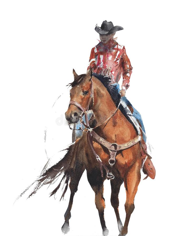 Cowboy riding a horse Texas rodeo horse race sport American traditions watercolor painting isolated on white background. Cowboy riding a horse Texas rodeo horse royalty free illustration