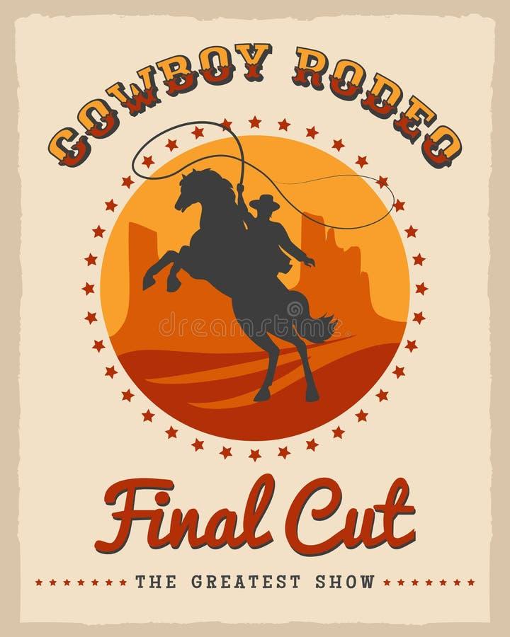 Cowboy Rodeo Poster illustration de vecteur