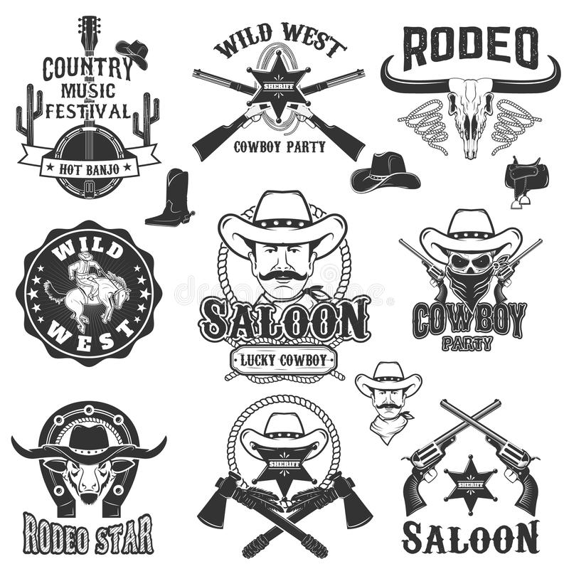 Cowboy rodeo, wild west labels. Country music party. royalty free illustration