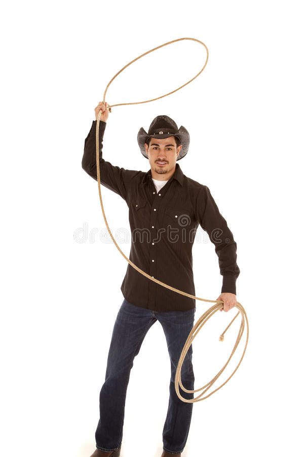 Cowboy With Rope In Air Royalty Free Stock Photos