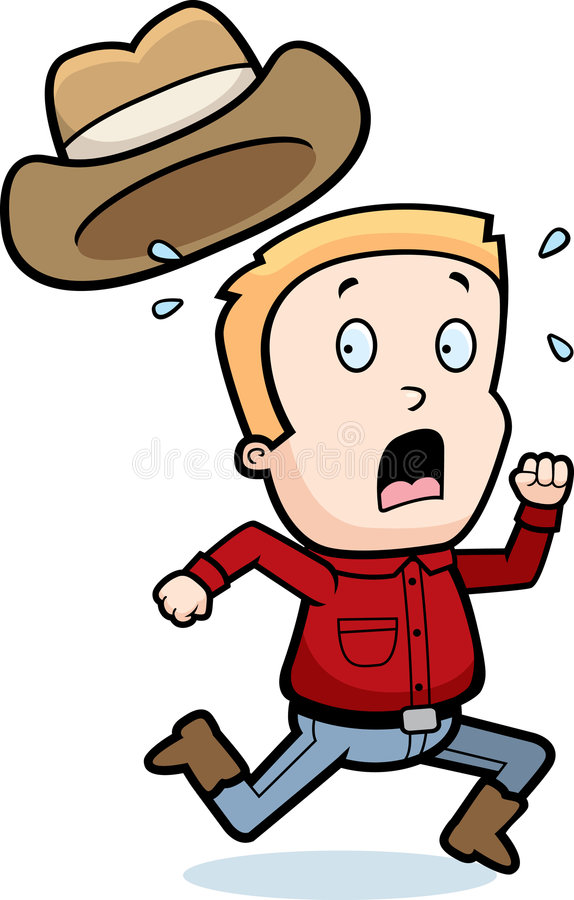 Cowboy Running stock illustration