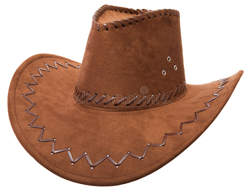 Cowboy's hat. Lonely cowboy hat on a white background royalty free stock photo