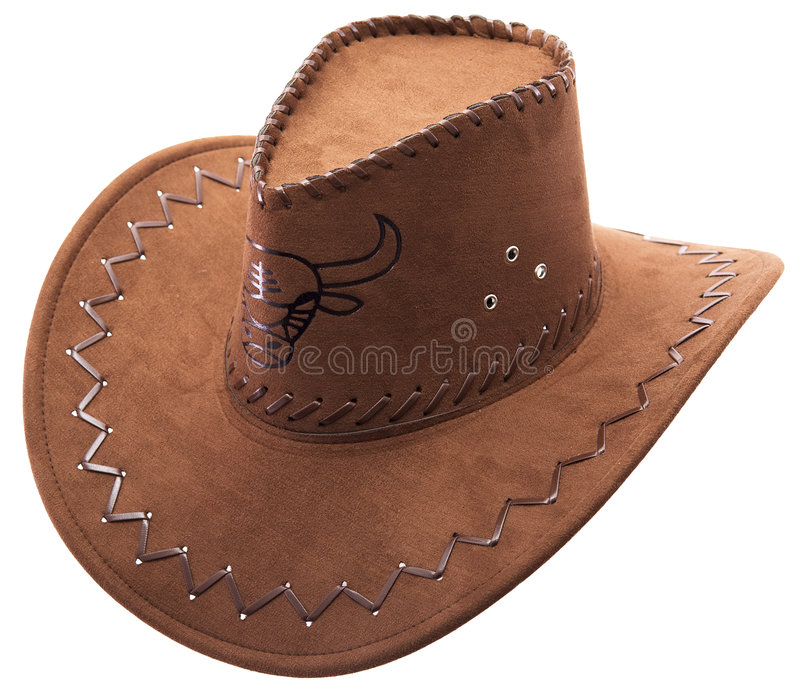 Cowboy's hat. Lonely cowboy's hat on a white background with the image of the bull royalty free stock photo