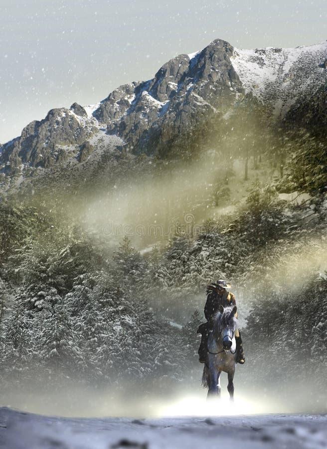 Cowboy in schneebedeckte Landschaft lizenzfreie abbildung
