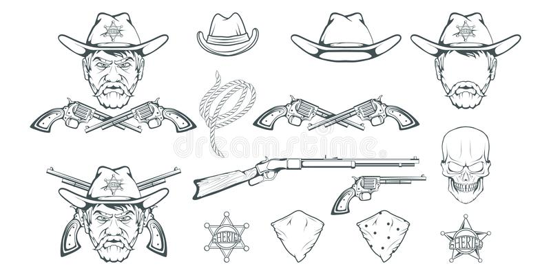 Cowboy Set for design. Hand drawn cowboy hat. Cartoon character man in the wild west. Retro Rifle and revolver. Sheriff`s Badge. stock illustration