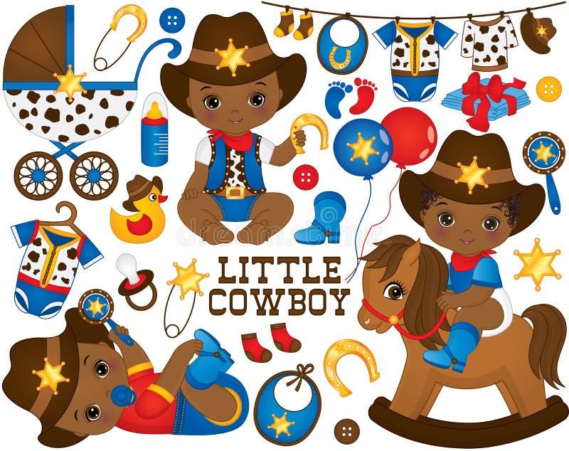 Cowboy Set di vettore L'insieme include i piccoli neonati afroamericani svegli vestiti come piccoli cowboy illustrazione vettoriale