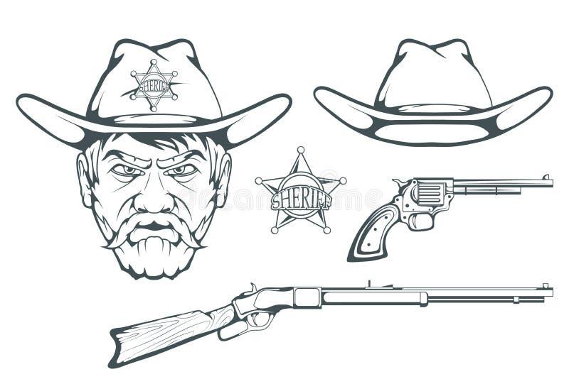 Cowboy Set för design Hand dragen cowboyhatt Man för tecknad filmtecken i det lösa västra Retro geväret och revolver Emblem för s royaltyfri illustrationer