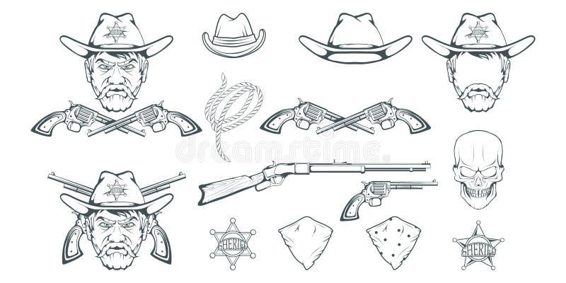 Cowboy Set för design Hand dragen cowboyhatt Man för tecknad filmtecken i det lösa västra Retro geväret och revolver Emblem för s stock illustrationer