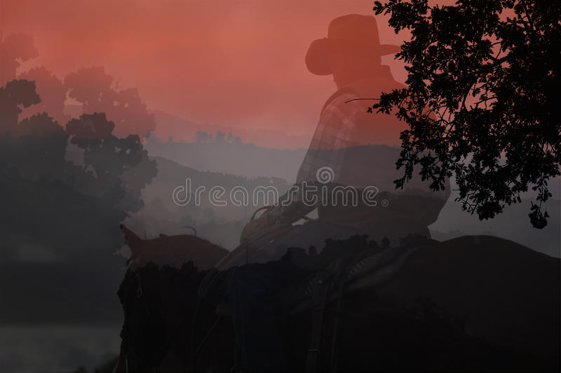 Cowboy silhouette. stock photography