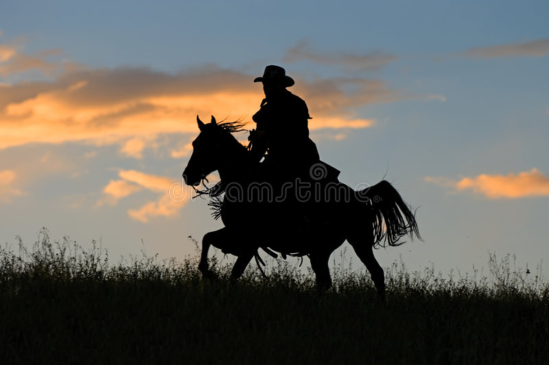 Download Cowboy silhouette stock image. Image of gallop, western - 5654425