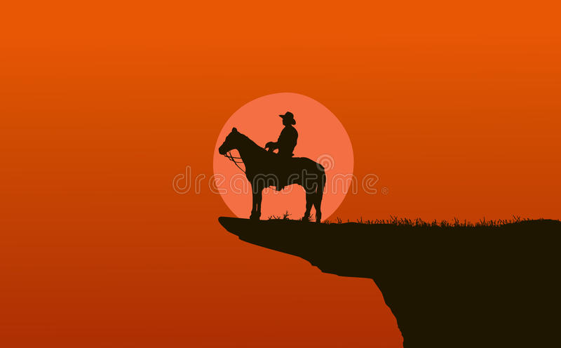 Cowboy silhouette at sunset. Cowboy over mountain at sunset vector illustration