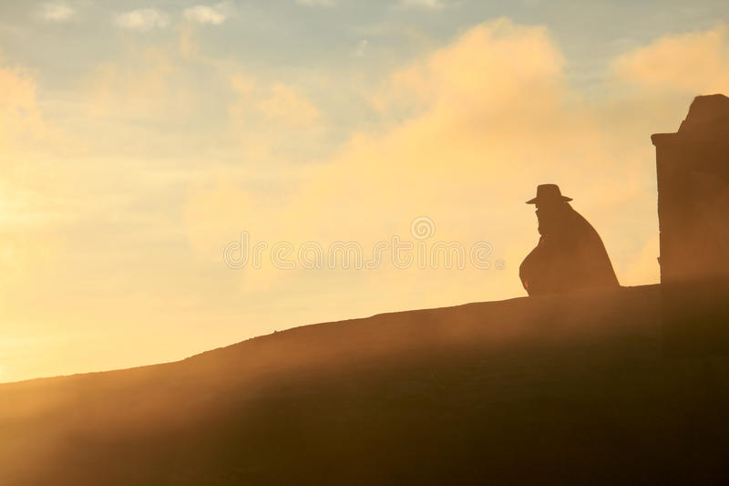 Download Cowboy Silhouetted Against The Sunrise Stock Image - Image: 10987975