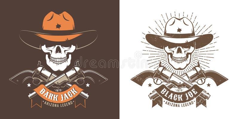 Cowboy skull with crossed guns royalty free illustration