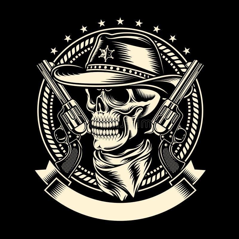 Cowboy Skull med handeldvapen royaltyfri illustrationer