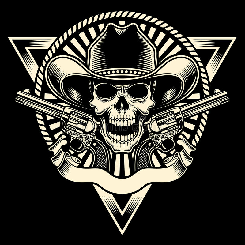 Cowboy Skull With Revolver. Fully editable vector illustration of cowboy skull with revolver on isolated black background, image suitable for emblem, insignia