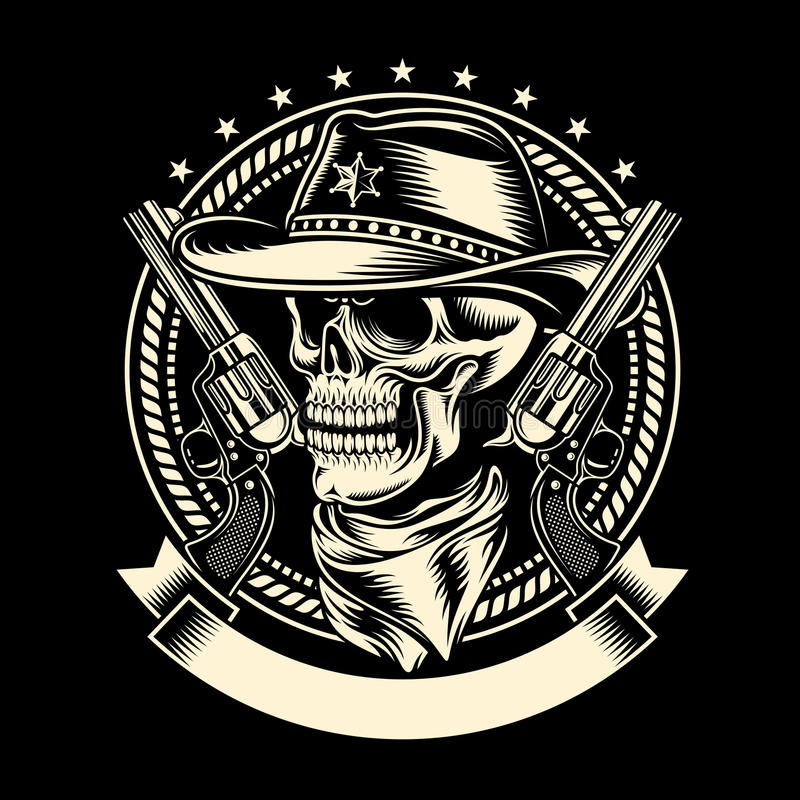 Free Cowboy Skull With Handguns Stock Photos - 50996343