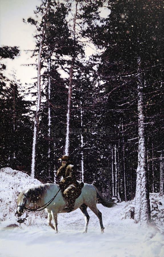 Download Cowboy Into Snowy Landscape Stock Illustration - Image: 27255162