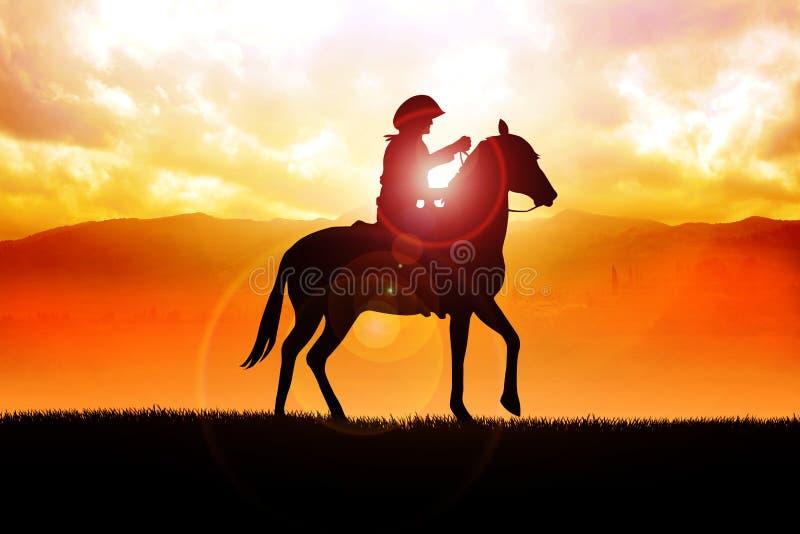 Cowboy solitario illustrazione di stock