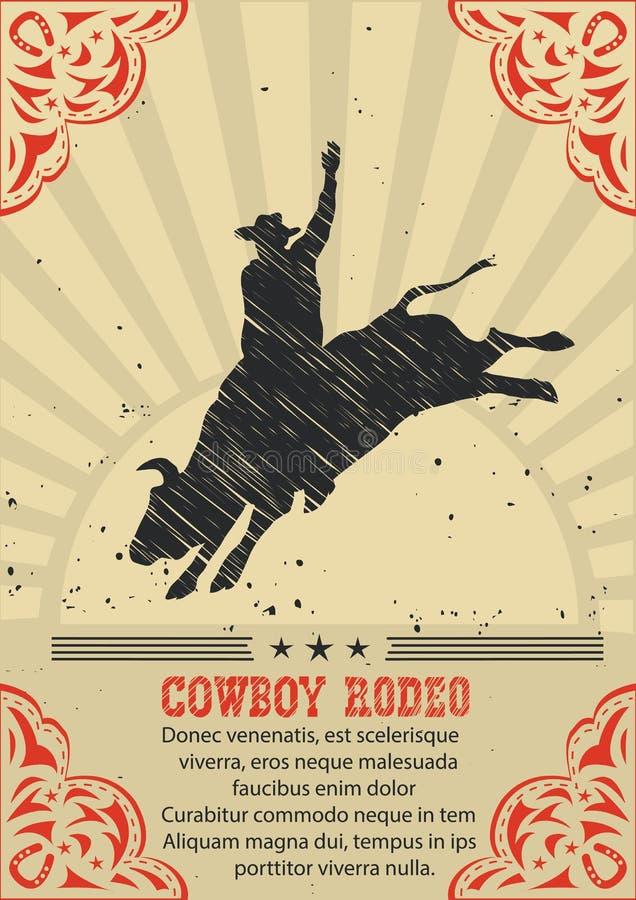 Cowboy som rider den lösa tjuren Västra affischbakgrund för vektor royaltyfri illustrationer
